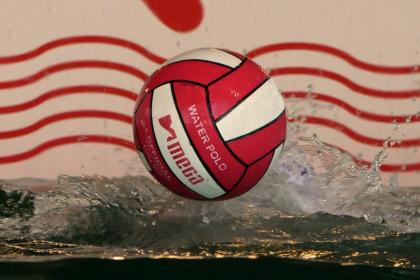 Water polo ball bouncing across a pool