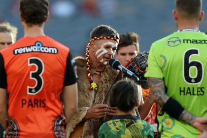 BBL players participating in a Welcome to Country ceremony